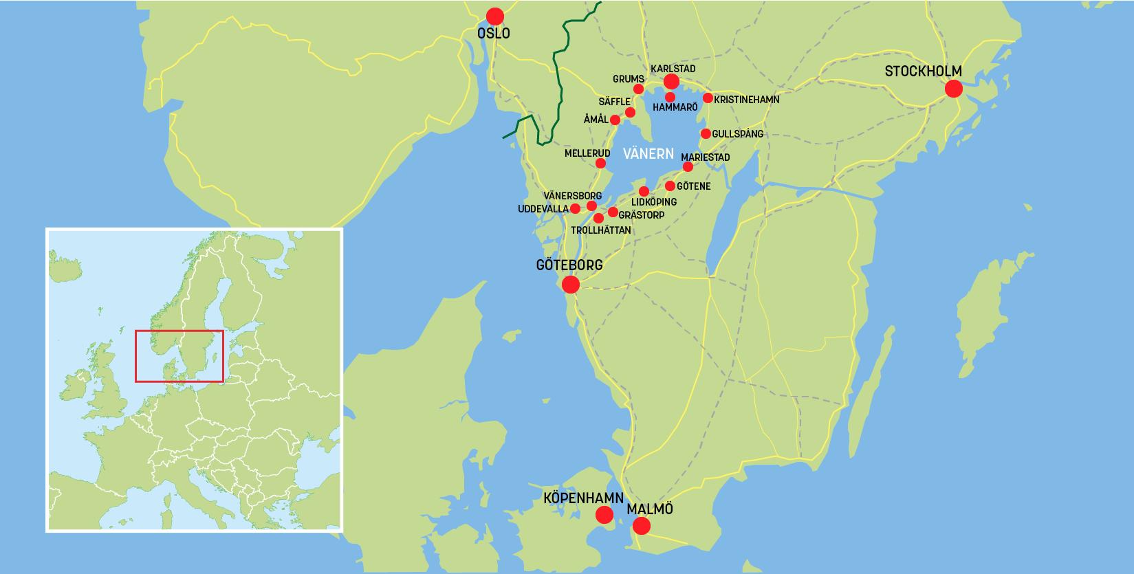 Översiktskarta Vänern